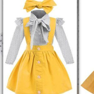 Other - Polka Long Sleeve with Skirt and Headdress Set